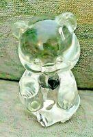 "Fenton September Birthday Bear Signed Clear Glass Blue Heart 3 1/2"" Figurine"