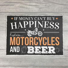 Motorcycle Beer Plaque Alcohol Pub Plaque Funny Man Cave Wall Sign Birthday Gift