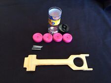 """Pinewood Derby 5 5/8"""" Drilled 1/4"""" Plywood Body Kit Finished U PICK WHEEL COLOR"""