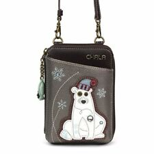 NEW CHALA PEWTER GRAY WINTER POLAR BEAR ZIPPERED CROSSBODY WALLET FAUX LEATHER