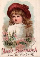 "Hood's Sarsaparilla Victorian Trade Card ""Makes the Weak Strong"" *Free Ship"