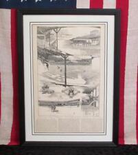 Vintage 1891 Manhattan Athletic Club Grounds Print NYC Harpers Weekly Antique