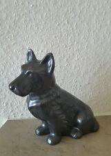 Keramik figur Hund Terrier Stark versilbert Germany
