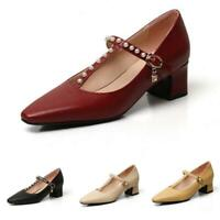 Women's Lolita T-strap Mary Jane Square Toe Block Low Heel Casual Pumps Shoes D
