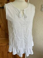 Next White Embroidery Style Vest Top Size 10 BNWT