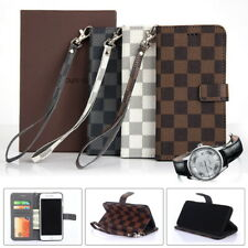 Luxury Checkered Leather Flip Wallet Case Cover with Strap For iPhone & Samsung