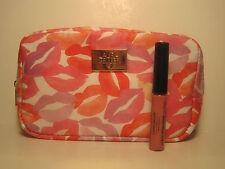 Laura Geller Lip Gloss French Press Rose .1 oz. Travel Size & LIPS Cosmetic Bag