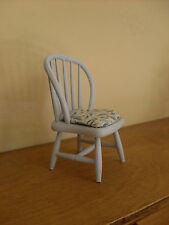 Dollshouse miniature ~ * VINTAGE * BLUE & IVORY FLORAL ~ Chair