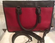 COACH EMBASSY BRIEF IN COLORBLOCK LEATHER MESSENGER BAG F71557 RED CURRANT/ASH