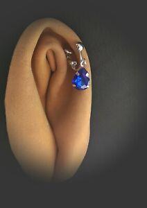 Faux clitoral_piercing with Indigo crystal Non Piercing Clit_Clip