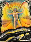 "Vtg. JOSEF M. KOZAK Original Art ""ANGEL WATCHING OVER"" Painting Signed Unframed"
