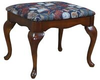 American Drew Cherry Queen Anne Upholstered Piano Stool Foot Ottoman Vanity Seat