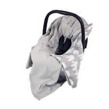 NEW CAR SEAT BABY WRAP - TRAVEL WRAP / CAR SEAT BLANKET - GREY & WHITE ELEPHANTS