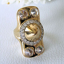 Nicky Hilton Long Spiked Dome Ring 18k Gold Vermeil Sterling Silver CZ Size 7