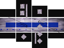 Large Blue Black Grey Abstract Canvas Picture Wall Art Split Multi 4 Panel Set
