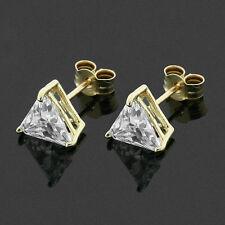 9ct Gold 6mm Triangular CZ Stud Earrings Hand MADE IN UK -Free Box - Anniversary