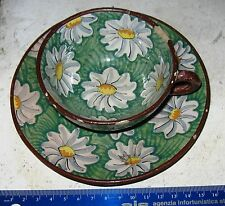 Tazza VINTAGE anni '50 / '60 - in TERRACOTTA  decorata a mano con piattino