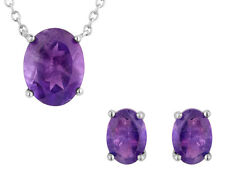 3.85 Carat (ctw) Amethyst Earrings and Pendant Necklace Set in Sterling Silver