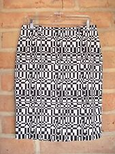 Ideology Black & White Short Career Skirt ~ Psychedelic Print ~ Women's 4  NWT