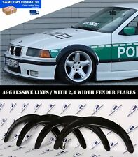 BMW E36 Fender Flares Wheel Arches Extension Wide Body Kit 2.4 in (environ 6.10 cm) NOIR 4 pcs