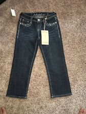 LA Idol USA Size 3 Capri Jeans, Jeweled Rhinestone Button NWT
