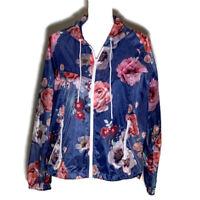 American Eagle Womens Jacket Windbreaker Coat Flowers Hood Zip Up AE Medium