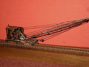 HO. MOW 25 ton crane w/55ft brass boom. Knuckle couplers. Weathered RTR C-7 bd
