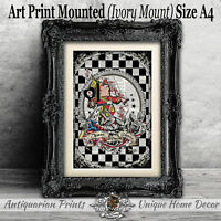 Queen of Hearts Art Print on Antique Dictionary Book Page Alice in Wonderland