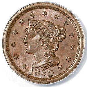 1850 N-26 R-4 ANACS AU 58 Braided Hair Large Cent Coin 1c
