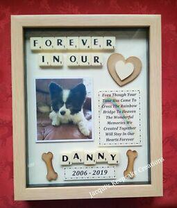DOG MEMORIAL Picture Frame Keepsake PERSONALISED Pet RAINBOW BRIDGE Scrabble Box
