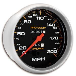 "Auto Meter 5156 5"" Pro-Comp Mechanical Speedometer 0-200 MPH NEW"