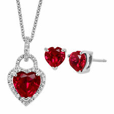 1 7/8 ct Created Ruby Heart-Cut Pendant & Earrings Set with Diamonds in Silver