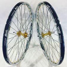 "BMX BICYCLE WHEEL SET SUN TNT BICYCLES CHROME / GOLD DERRINGER, 24"" CRUISER"