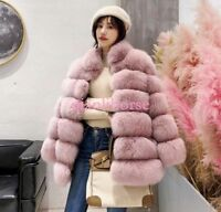 Women faux Fox Fur Coat Parka Outwear Overcoat Thick Warm Winter Trench Jacket