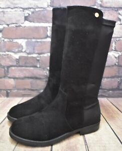 Girls XTI Black Zip Up Low Heel Mid Calf Boots UK 3 EUR 39 RRP- £49