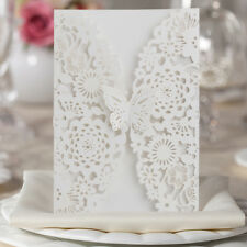 10pcs Square Laser Cut Wedding Invitations Cards Kits Envelopes Seals Custom
