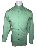 Banana Republic Large L Green Stretch Slim Fit Mens Button-Front Shirt -16 -16.5