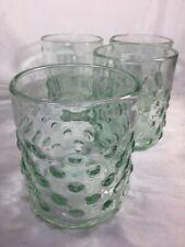 Vintage Green Hobnail~Bubble Rocks Glasses Tumblers Set 4