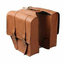 Twin velo sac en cuir vélo cycle Double PU Brown Tan Retro Vintage