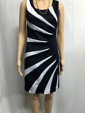 TEABERRY SIZE 8 NAVY BLUE AND WHITE PANELED  DRESS, WEDDING,RACES,SPECIAL EVENT