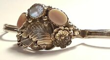 Vintage Morty Johnson Navajo Sterling Silver Mother of Pearl Ladies Bracelet