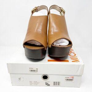Michael Kors 9.5 Platform Wedges Scotia Leather Clog Dark Tan NEW IN BOX