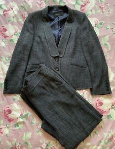 JAEGER Grey Trouser Suit jacket 14 trousers Lined Wide Leg 12 Smart