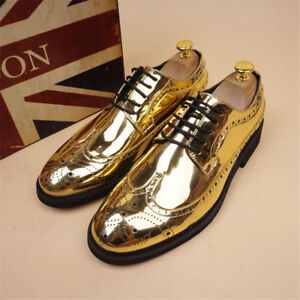 Mens Leather Shoes Wedding Oxfords Wing Tip Pointed Toe Shine Dress Brogue HOT