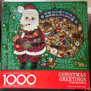 Springbok Puzzle Christmas Greetings by Bob Schneeberg Hallmark Santa Vtg 1977