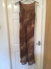 "Sheer Brown Animal Print,  Ladies Dress, Size 12  Bust  32""  Length 54"""