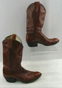 Men's Brown Eel Skin  Almond Toe Western Cowboy Boots Size: 9 D