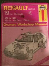 HAYNES WORKSHOP MANUAL 1646 , RENAULT PETROL 19 INC CHAMADE 1989 TO 1991 .