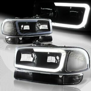For 1999-2006 GMC Sierra 1500 2500 G2 DRL LED Black Clear Headlights+Bumper 4PCS
