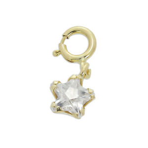 9ct Gold & Clear CZ Small Star Clip on Charm Stars 375 Charms Flowers